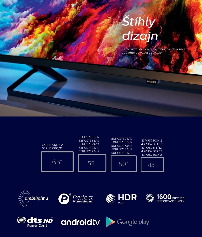 b22105896 Ultra tenký LED televízor so syst. Android TV a rozlíšením 4K UHD s  3-strannou funkciou Ambilight Vychutnajte si obľúbené televízne relácie, ...